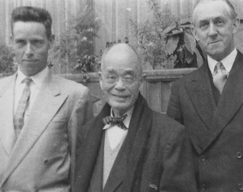 Alan Watts, D.T. Suzuki, and Christmas Humphreys, London, 1958. Photo by Mihoko Okamura
