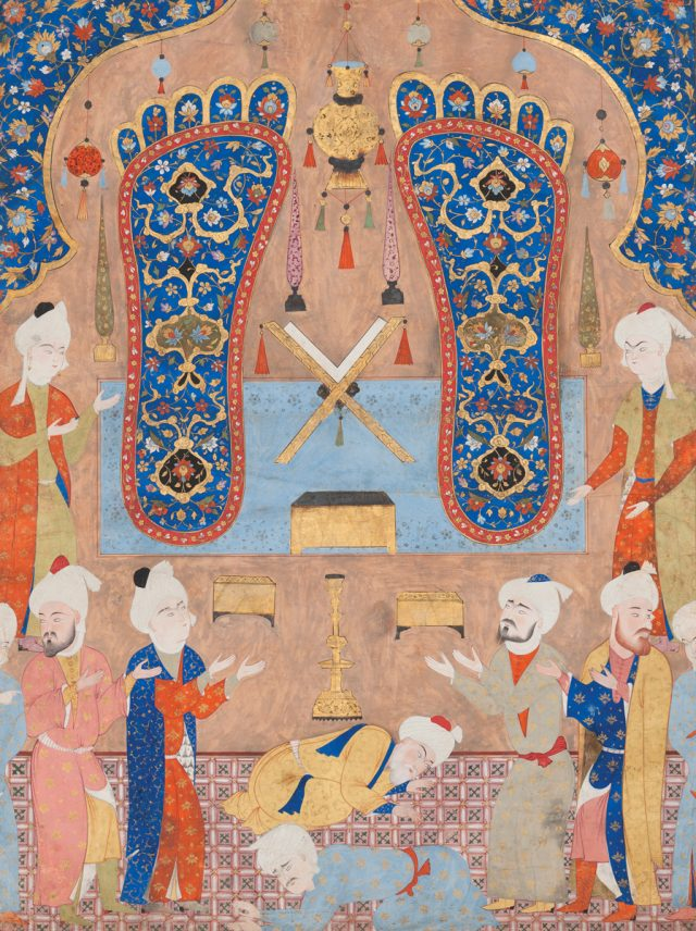 Painting of Ali's footprints, buddhism islam