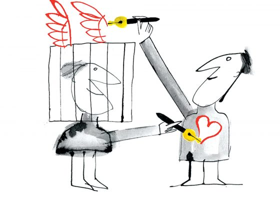 Wings are drawn above a caged figure